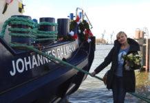 Die Taufpatin der »Johannes Dalmann« ist die Schauspielerin Sanna Englund