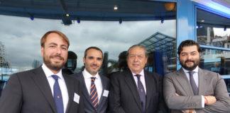 V.l.: Antonio Bordils Montero (CEO Boluda Towage and Salvage), Jorge Rosety (Sales Manager at Caterpillar), Vicente Boluda Fos (President Boluda Corporacion Maritima) and Vicente Boluda Ceballos (Vice President Boluda Corporacion Maritima)