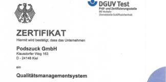 Podszuck ist von BG Verkehr für sein Qualitätsmanagement zertifiziert worden