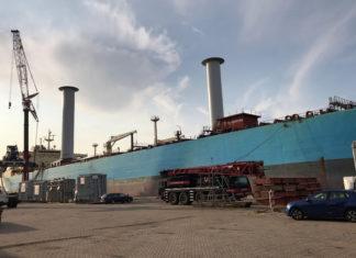 »Maersk Pelican« mit Flettner-Rotoren