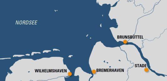 Wilhelmshaven, LNG, Terminal, import-Terminal, Bunker, Emden, Stade, Hamburg, Cuxhaven, Brunsbüttel, Bremerhaven